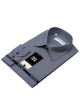 Приталенная мужская рубашка темно-синего цвета в белую полоску