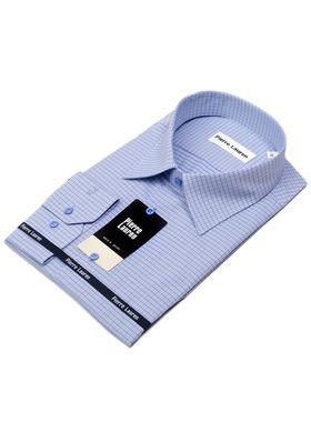Классическая мужская рубашка с длинным рукавом в голубую клетку