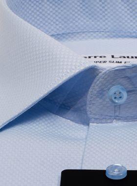 Мужская рубашка из голубой структурной ткани