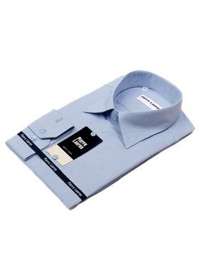 Приталенная голубая мужская рубашка с узором