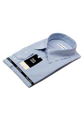Белая мужская рубашка больших размеров в синюю полоску