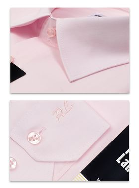 Классическая розовая мужская рубашка с длинным рукавом