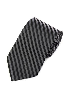 Черный мужской галстук в серую полоску