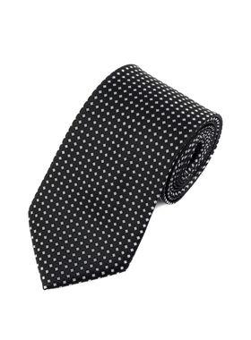 черный мужской галстук с белым геометрическим узором