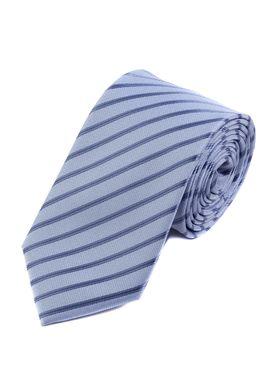 Серебристо-голубой мужской галстук в полоску
