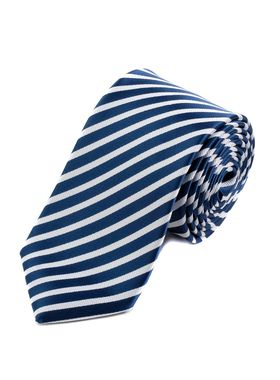 Классический синий мужской галстук в белую полоску