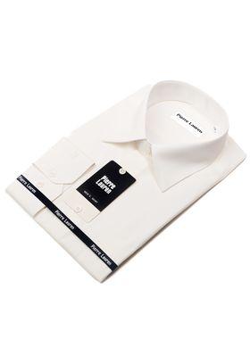Однотонная мужская рубашка цвета айвори