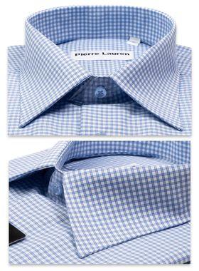 Классическая (прямая) мужская рубашка в голубую клетку с коротким рукавом