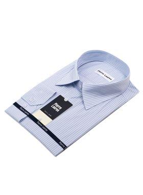 Хлопковая мужская рубашка больших размеров в голубую полоску