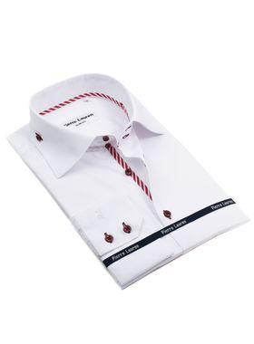 Красивая белая мужская рубашка Elegance полуприталенного кроя