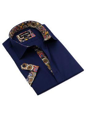 Красивая мужская рубашка с коротким рукавом темно-синего цвета