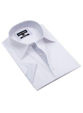 Классическая (прямая) однотонная белая мужская рубашка с коротким рукавом