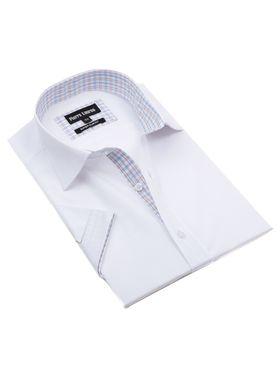 Красивая мужская рубашка с коротким рукавом белого цвета