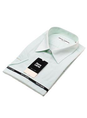 Мужская рубашка с коротким рукавом в салатовую полоску