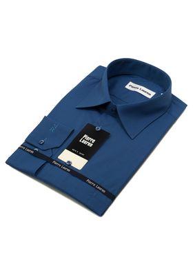 Красивая однотонная мужская рубашка насыщенного синего цвета с длинным рукавом