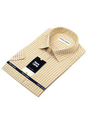 Мужская рубашка с коротким рукавом в желтую клетку
