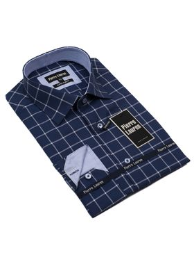 Красивая мужская рубашка Elegance, приталенного кроя Super Slim Fit темно-синего цвета в клетку