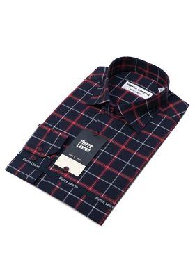 Красивая мужская рубашка в темно-синего цвета в красную клетку