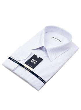 Мужская рубашка больших размеров белого цвета в серую полоску