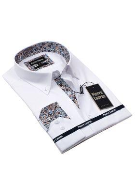 Белая мужская рубашка Elegance полуприталенного кроя Slim Fit.
