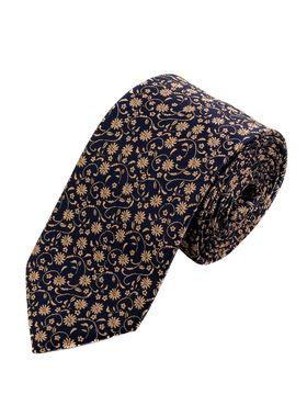Красивый мужской галстук темно-синего цвета с золотистым узором