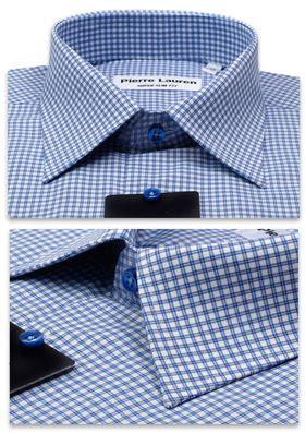 1171TSFK Приталенная мужская рубашка в двойную синюю клетку