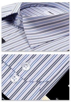 Классическая мужская рубашка с длинным рукавом в сине-голубую полоску
