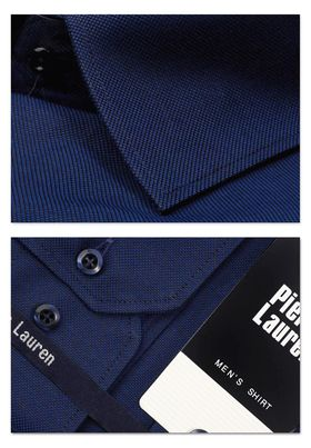 Красивая мужская рубашка прямого покроя больших размеров из темно-синей структурной ткани