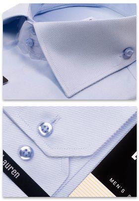 Красивая приталенная мужская рубашка из голубой структурной ткани