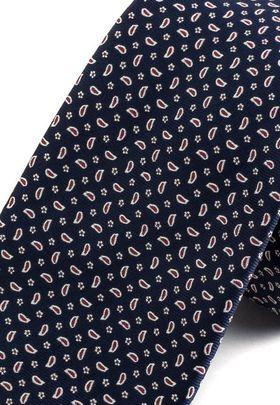 Синий мужской галстук с красивым принтом