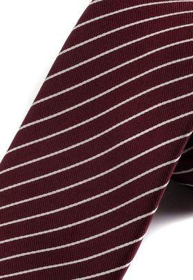 Классический бордовый мужской галстук в белую полоску