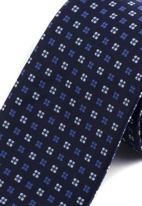 Красивый темно-синий мужской галстук с геометрическим узором