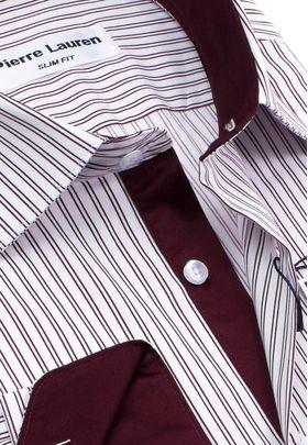 Красивая мужская рубашка в бордовую полоску