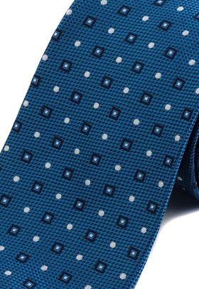 Красивый галстук синего цвета с геометрическим узором.