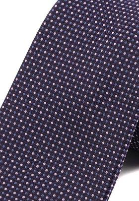 Красивый, фиолетовый мужской галстук с геометрическим узором.