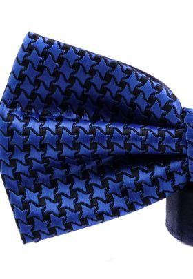Ярко-синяя мужская бабочка из микрофибры с геометричским узором