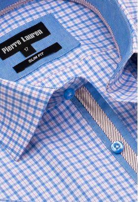 Интересная мужская рубашка с коротким рукавом в голубую клетку