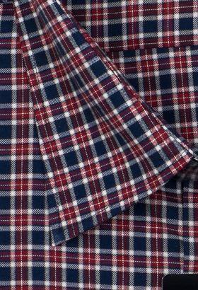 Мужская рубашка с длинным рукавом красно-синюю клетку