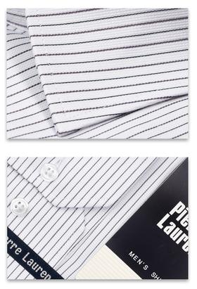 Приталенная однотонная мужская рубашка в серую полоску из структурной ткани Slim Fit
