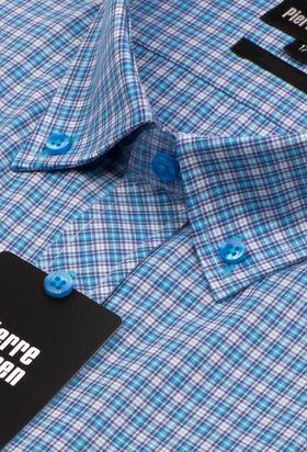 Красивая классическая (прямая) мужская рубашка в голубую клетку с коротким рукавом