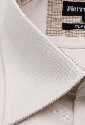 Классическая (прямая) однотонная мужская рубашка кремового цвета с коротким рукавом