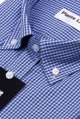 Мужская рубашка с длинным рукавом из ткани в синюю клетку