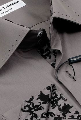 Однотонная серая мужская рубашка Elegance
