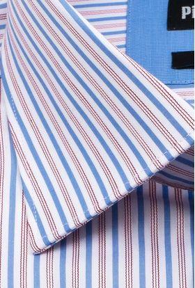 Мужская рубашка из 100% хлопка с коротким рукавом в голубую полоску