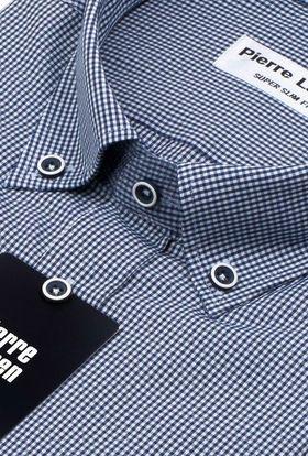 Интересная мужская рубашка в темно-синюю клетку