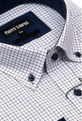 Интересная мужская рубашка Elegance полуприталенного кроя Slim Fit в сине-коричневую клетку