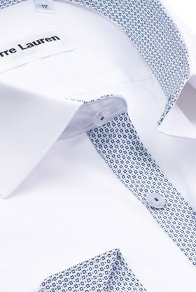 Красивая однотонная мужская рубашка Elegance приталенного кроя