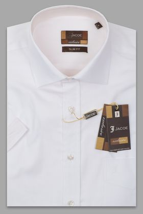 100429JМК Белая мужская рубашка приталенная Jacoe