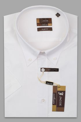 102423JМК Белая мужская рубашка приталенная Jacoe