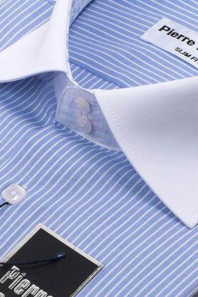 Красивая мужская рубашка в голубую полоску Elegance